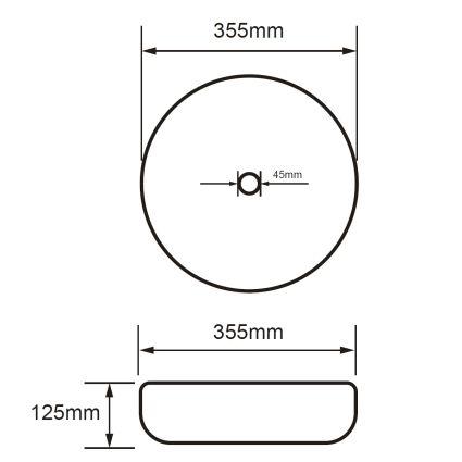 VOLLE умивальник 35,5*35,5*12,5 см, накладної, круглий, матовий - 2