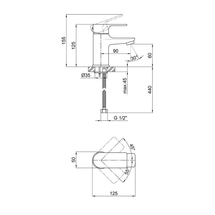 Змішувач для умивальника Q-tap Uno 001 CRM - 2