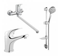 Набір 3в1 змішувачі Ferro ONE для умивал., ванни з дов. носом та душ. компл. (BFO5А+BFO2+N340)