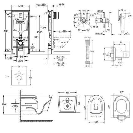 Комплект інсталяція Grohe Rapid SL 38772001 + унітаз з сидінням Qtap Jay QT07335176W + набір для гігієнічного душу зі змішувачем Grohe BauClassic 111048 - 2
