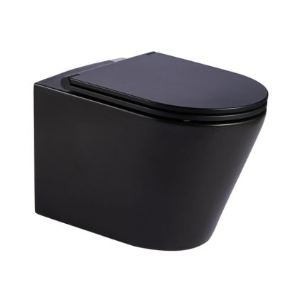 Унітаз підвісний Qtap Scorpio безободковый з сидінням Slim Soft-close QT1433053ERMB - 1
