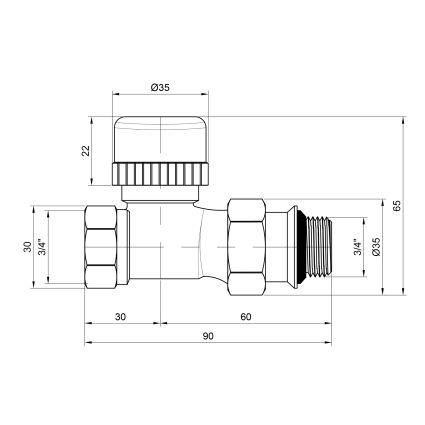 Кран термостатичний прямий 3/4 SD351W20 - 2