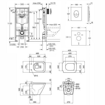 Набір інсталяція 4 в 1 Grohe Rapid SL 38722001 + унітаз з сидінням Qtap Tern QT1733052ERW - 2