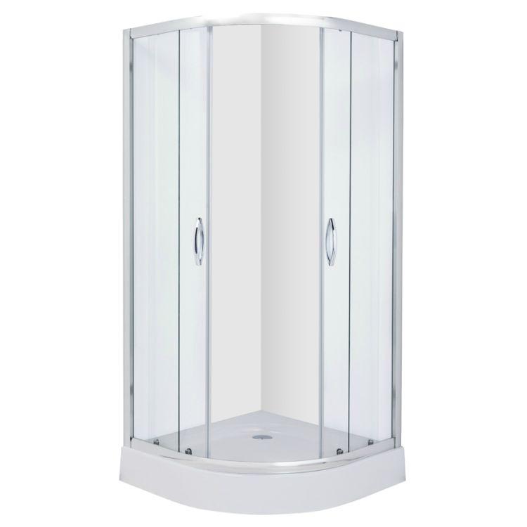 FIESTA душова кабіна 90*90*200 см на дрібному піддоні, профіль хром, прозоре скло - 4