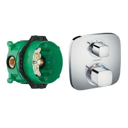 ECOSTAT E термостат з запірним/перемикаючим вентилем + прихована частина IBOX universal для змішувача (в подарунок) - 1