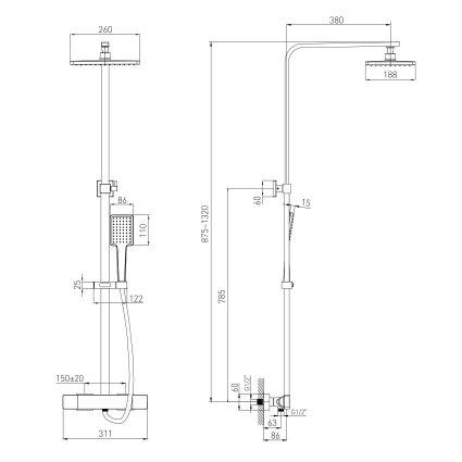 DE LA NOCHE душова система з термостатом (змішувач для душу, верхній та ручний душ 1 режим, шланг полімер 1,5 м) - 2