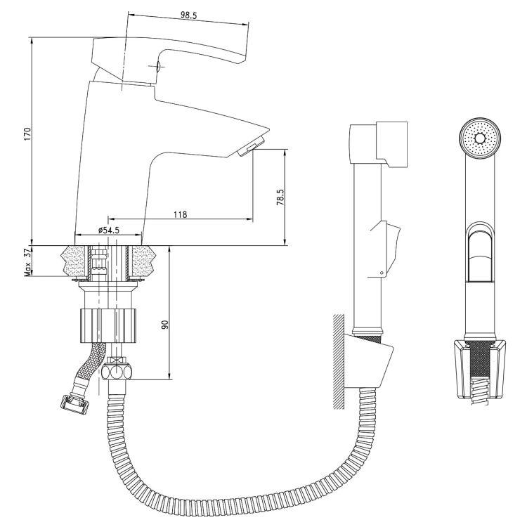 HORAK набір для біде (змішувач + гігієніч душ з держателем + шланг 1,5 м) - 2