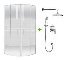 Комплект: TISZA (AMUR) душова кабіна 90*90*185см (599-021-A/1) + JESENIK змішувач прихованого монтажу для душу (VR-15140)