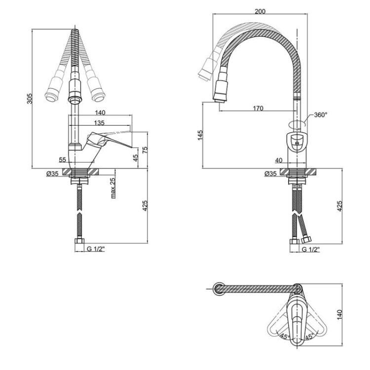 Змішувач для кухонного миття Lidz (CRM)-16 37 008 04 - 2