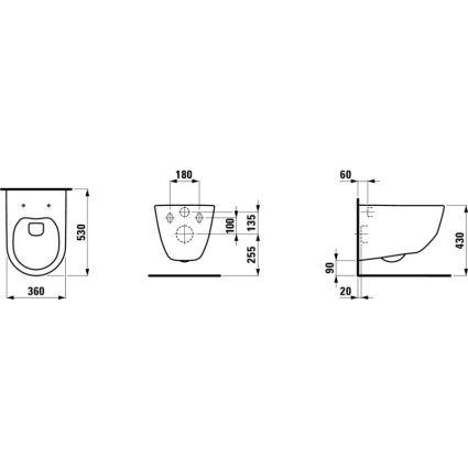PRO чаша підвісного унітазу 36*53см, rectangular, змив вертикальний, з покриттям LCC - 2