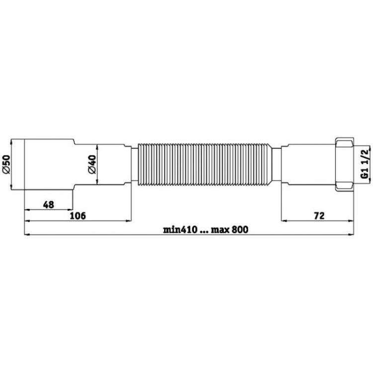 Гофросифон К106 ⌀40*50 труба гибкая - 2