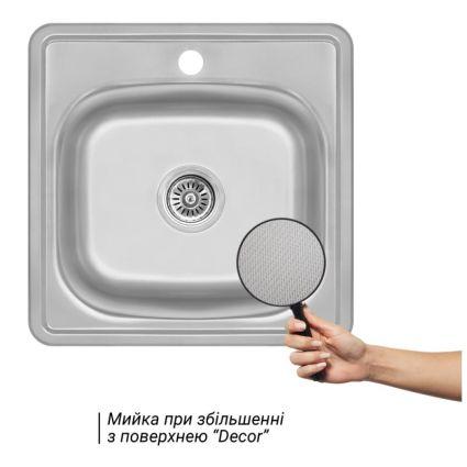 Кухонна мийка Lidz 4848 Decor 0,6 мм (LIDZ4848DEC06) - 3