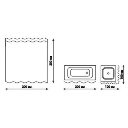 Шторка для ванної Q-tap Tessoro PA62787 200*200 - 2
