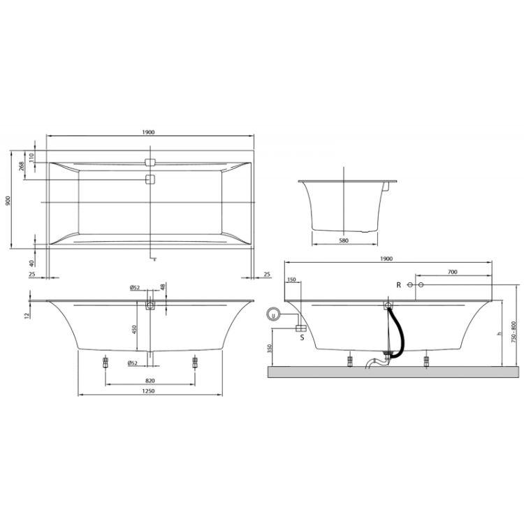 SQUARO EDGE 12 ванна 190*90см, с ножками, с комплектом слив/перелив, белый альпин - 2