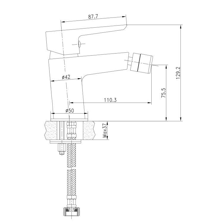 BRECLAV смеситель для биде, хром/белый, 35мм - 2
